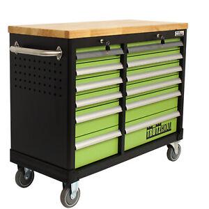 Werkstattwagen Werkbank DELUXE 2 x 6 Schubladen leer mit massiver Arbeitsplatte