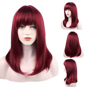 Women Wig Wine Red Wig Fashion Long Straight Wig Hair Human Hair Wig+Wig Cap
