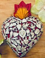 Mexican Milagros Sacred Red Heart Wood Wall Love Token Plaque Ex Voto Folk Art