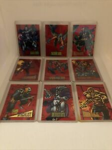 1993 Marvel Universe Series 4 COMPLETE RED FOIL 2099 INSERT CARD SET, Great Cond