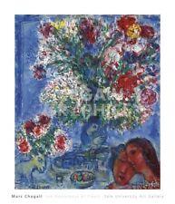 Les Amoureux et Fleurs, 1964 by Marc Chagall Yale Art Gallery Print Poster 28x24
