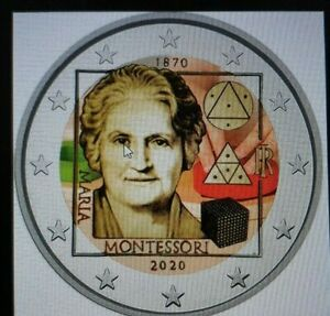 2 Euro Gedenkmünze Italien 2020 coloriert  mit Farbe / Farbmünze Montessori 2
