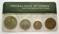 1974 CYPRUS - OFFICIAL MINT SET (4) - 5,10,25 & 50 MILS - SEALED CELLO - RARE!