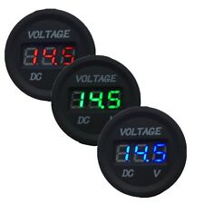 HS Waterproof 12-24V Car Motorcycle LED DC Digital Display Round Voltmeter Meter
