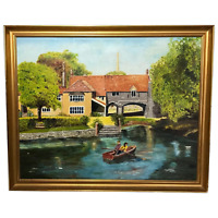 Fine 20th Century Oil Painting Children Rowing River Wensum Pulls Ferry Norwich