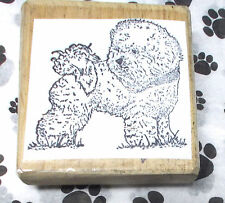 Fuzzy sweet puppy dog rubber stamp standing in grass looking back Animals pets