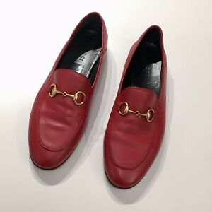 GUCCI Brixton Red Leather Horsebit Convertible Women's Loafers, Size 37.5