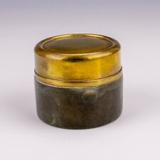 Antique Black Leather & Brass - Miniature Travel Inkwell - Lovely!