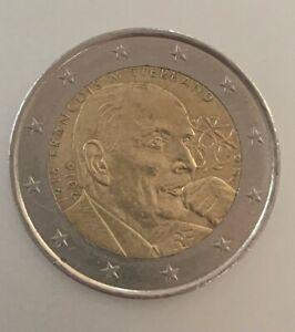 """2 euro RARE commémorative """"François Mitterrand""""  1916/2016 en très bon état"""