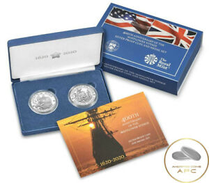 2020 Mayflower 400th Anniversary Silver Proof and Medal Set w/Box and COA