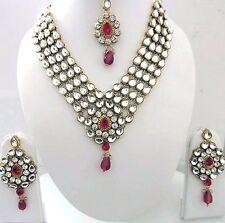Indian Bollywood Designer Women's Maroon Kundan Pearls Fashion Jewelry Sets