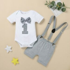 Infant Baby Boy My 1st Birthday Bow Tie Romper Bodysuit Summer Outfits Set