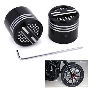 2X Front CNC Deep Edge Cut Axle Nut Cover For Harley Dyna Softail Touring Trike