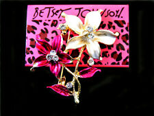 Lovely crystal Bauhinia Brooch Pin New Betsey Johnson Beautiful fashion Enamel