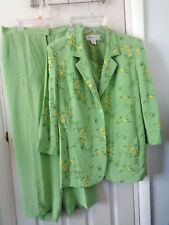 RENA ROWAN 3 Piece Pant Suit Spring Green SILK Womens Size 16 Fully Lined