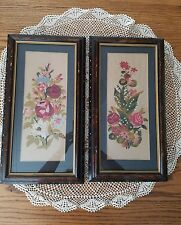 2 Victorian Embroidery w/ Ebony Eastlake Etched Aesthetic Frames 10.5x19.75