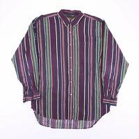 Vintage AUTHENTIC GFC Purple Stripe Long Sleeve Shirt Size Men's XL