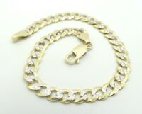 "14K Yellow & White Gold Diamond Cut Textured Curb Link Chain Bracelet 8"" D4070"