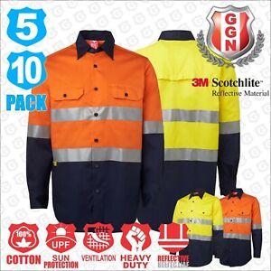 HI VIS Shirts Work Shirt 5 10 PACK Cotton Long sleeve Reflective Tape Back Vents