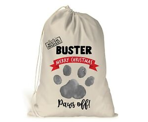 Personalised Dog Christmas Sack Stocking Xmas Gift Bag  Pets Puppy Paws off!
