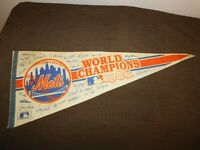 "VINTAGE BASEBALL 30"" LONG MLB 1986 METS WORLD CHAMPIONS  FELT CLOTH PENNANT"