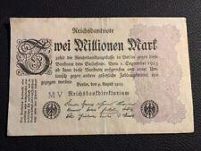 Reichsbanknote,MV, Zwei Millionen Mark, 9.August.1923 guter zustand siehe Fotos