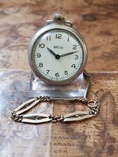 alte Stahl-Nickel Bull,s Eye Westclox USA Taschenuhr mit Uhren-Kette (11)