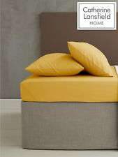 Catherine Lansfield EasyIron PlainDye Percale Flat/Fitted Sheet Pillowcase ochre