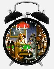 "Dogs Playing Poker Alarm Desk Clock 3.75"" Home or Office Decor Z40 Nice For Gift"