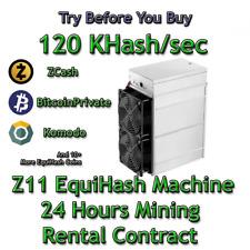Z11 120 KSol/sec Guaranteed 24 Hours Mining Contract Equihash (Zcash)