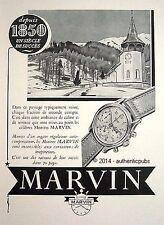 PUBLICITE MARVIN MONTRE PAYSAGE SUISSE NEIGE EGLISE DE 1951 FRENCH AD PUB WATCH