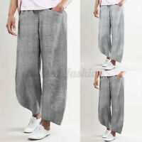 100% coton ZANZEA Femme Pantalons Long Rayure Taille elastique Jambe Large Plus