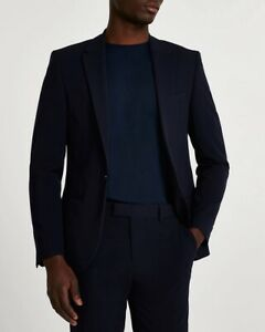 River Island Mens Single Breasted Super Skinny Suit Jacket Navy Blue UK 40 Long