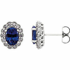 Chatham Created Blue Sapphire & 3/8 CTW Diamond Earrings In Platinum
