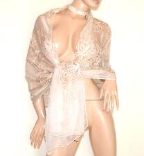 ESTOLA BEIGE mujer foulard chal bufanda 30% seda velado elegante maxi scarf G45