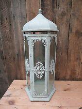 Grey Cream Glass Metal Lantern Large Candle Tea Light Shabby Chic