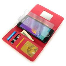 Wallet Case for Samsung Galaxy Note 4 - Red Credit Card Cover + Screen Protector