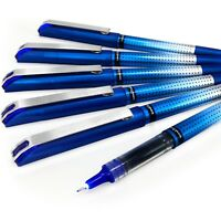 Uni-Ball UB-185S Rollerball Pen – 0.5mm Needle Point – Pack of 6 – Blue