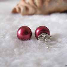 7-8mm Natural Wine Red Akoya Freshwater Pearl 925 Sterling Silver Stud Earrings