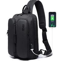 New Designer Men's Sling Backpack Oxford cloth Waterproof Crossbody Bag USB Port