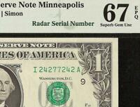 1974 $1 DOLLAR FANCY 2427 7242 RADAR SERIAL NUMBER NOTE PAPER MONEY PMG 67 EPQ