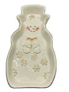 "Mikasa 8.5"" Holiday Splendor Snowman Tidbit Dish Gold Tone Accents Christmas"