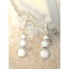 Miracle Bead Graduated White earrings Handmade glow UK gift day