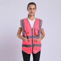 New Pink Color Safety Vest For Women's Reflective Stripe With Pockets And Zipper