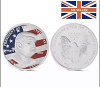 Donald Trump Coin USA President Silver Eagle Liberty Flag Souvenir With Capsule
