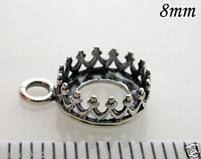 6pcs Quality Cast 8mm Bezel Cup Antique Sterling Silver 925 For Setting (8164)