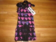 Versace for H&M 100% SILK Pink Heart Dress w/Black Fringe BNWT Sz 4 B