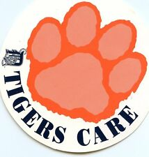 """VINTAGE DETROIT TIGERS RARE STICKER  """"TIGERS CARE  """" 1980'S STICKERS TEAM ISSUED"""