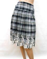 Jupe ENVIE T 40 L 3 aux genoux 100% coton Broderies Fête TBE Skirt Rock falda