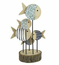 Wooden Ornament of 5 Fish  Seaside Coastal Design